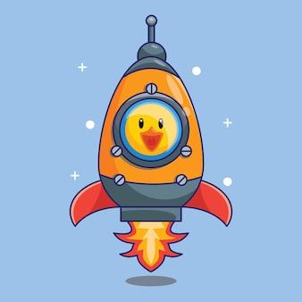 Милая утка космонавт верхом на космическом корабле в космосе мультфильм векторные иллюстрации