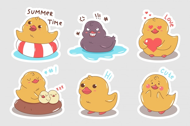 Cute duck characters set. cartoon stickers isolated