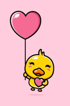 Cute duck flying with a love balloon