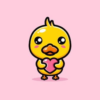 Милая утка обнимает сердце любви