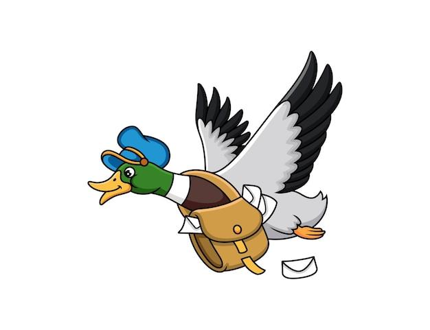 Милый мультфильм утка почты