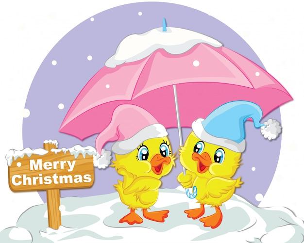 Cute duck merry christmas