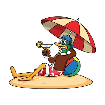 Cute duck relax in beach and holding juice cartoon icon illustration