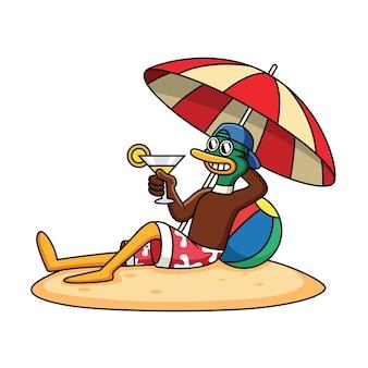かわいいアヒルのビーチでリラックスし、ジュース漫画アイコンイラストを保持します。