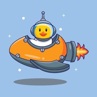 계란 벡터 일러스트 레이 션에 의해 만든 귀여운 오리 타고 우주선. 무료 디자인 컨셉 절연 프리미엄 벡터