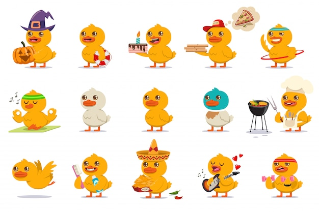 Cute duck set cartoon characters isolated