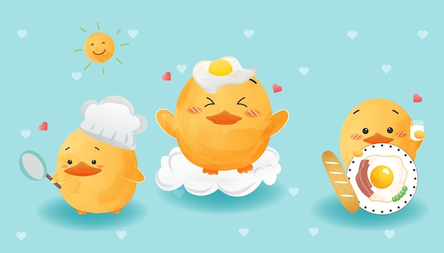 귀여운 오리는 계란 후라이 수채화 스타일을 설정합니다.