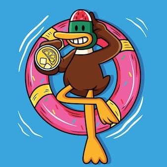 Милая утка плавает с воздушным шаром и держит сок иллюстрации шаржа значок
