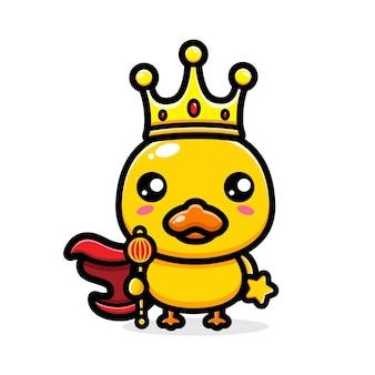 왕 왕관을 쓰고 귀여운 오리