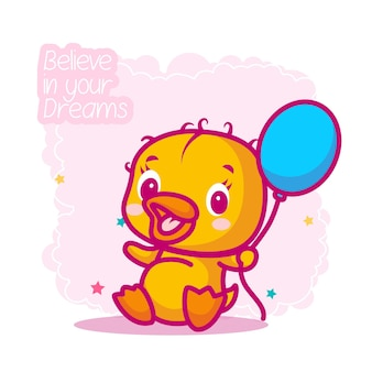 Cute duck with balloon