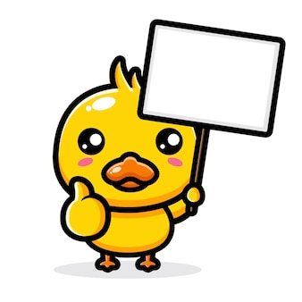 Cute duck with blank text board