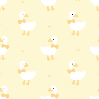 Cute duck with bow tie seamless pattern background