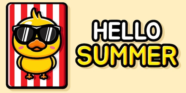 Cute duck with summer greeting banner