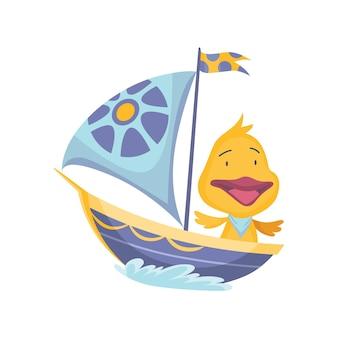 보트를 타고 항해하는 귀여운 오리 동물. 흰색 배경에 고립 된 물 파도와 요트에 벡터 재미있는 만화 선원. 아기 캐릭터