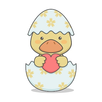 Cute duckling in an easter egg