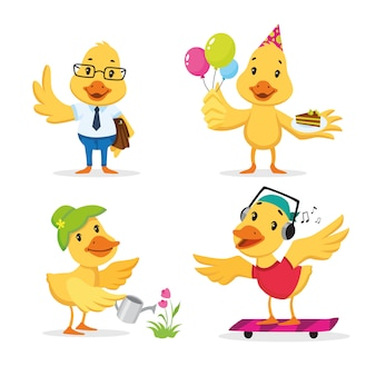 Cute duckling enjoying different actions. cartoon character set.