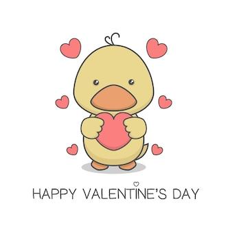 Милый утенок держит сердце день святого валентина