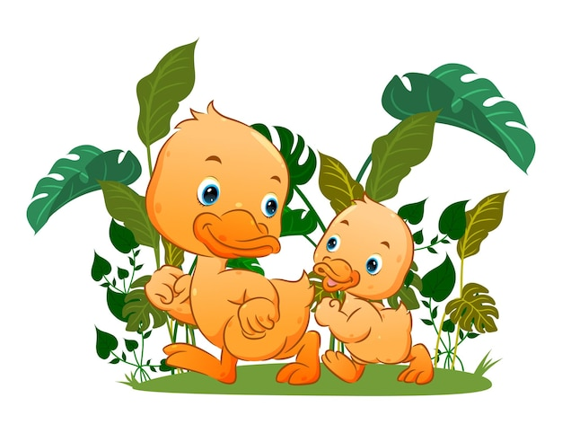 The cute ducks are walking around together in the farm of illustration