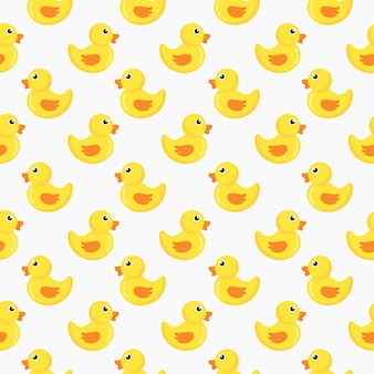 Cute ducks seamless pattern isolated on white background.