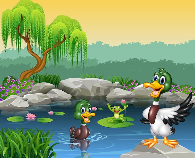 연못과 개구리에서 수영하는 귀여운 오리