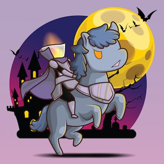 Cute dullahan at full moon background