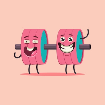 Cute dumbbell  character. fitness sport equipment    isolated on background.