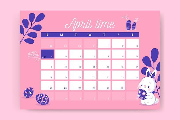 Симпатичный двухцветный еженедельный пасхальный календарь