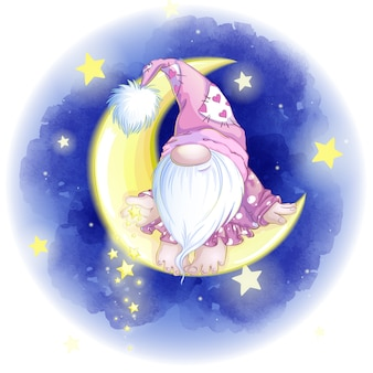 Cute dwarf in a pink cap sits on the yellow month and throws down the stars.