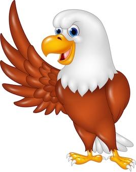 Cute eagle cartoon waving. isolated on white background