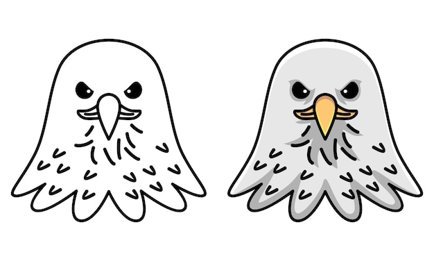 Раскраска милый орел для детей