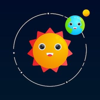 태양 그라데이션 그림 주위를 공전하는 귀여운 지구와 달
