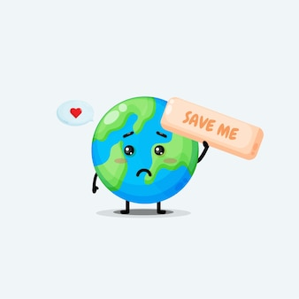 Cute earth character asking to be saved