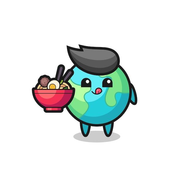 Милый персонаж земли ест лапшу, милый стильный дизайн для футболки, стикер, элемент логотипа
