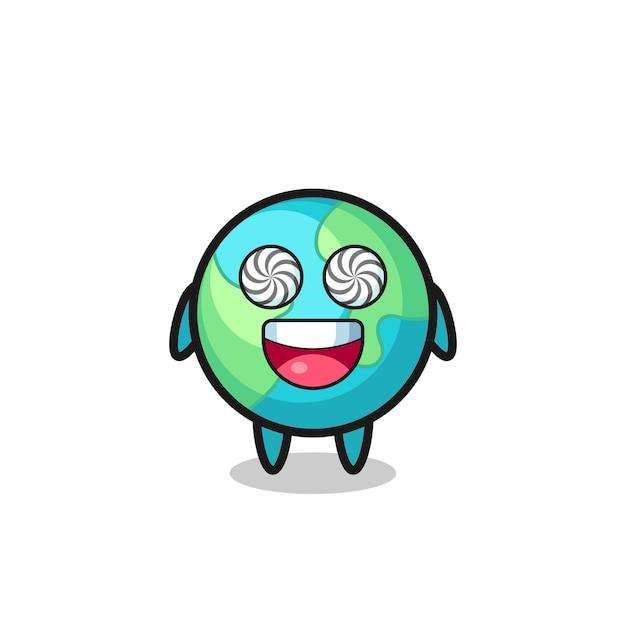 Симпатичный земной персонаж с загипнотизированными глазами, милый стильный дизайн для футболки, стикер, элемент логотипа