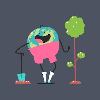 Cute earth character with shovel plant a tree  cartoon concept illustration isolated on background.