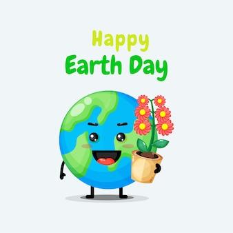 귀여운 지구 캐릭터는 당신에게 행복한 지구의 날을 기원합니다