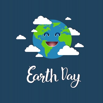 Cute earth day greeting card, save planet event