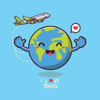 Милый земной дизайн и векторный самолет с концепцией дня туризма