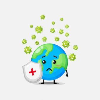 かわいい地球がコロナウイルスに襲われる