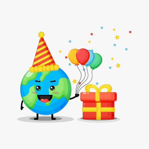 Cute earth mascot on birthday