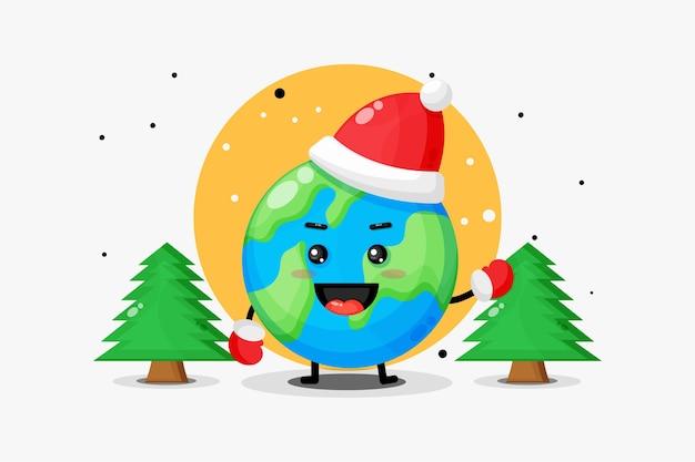 귀여운 지구 마스코트는 크리스마스를 축하합니다