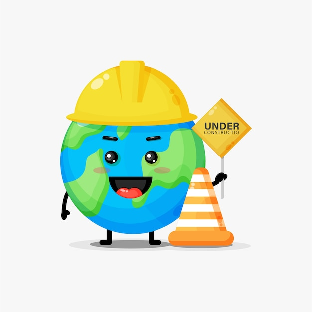 Cute earth mascot works in construction