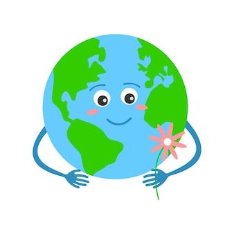 꽃 지구의 날을 들고 있는 귀여운 지구 행성 캐릭터는 환경 개념을 돌봅니다