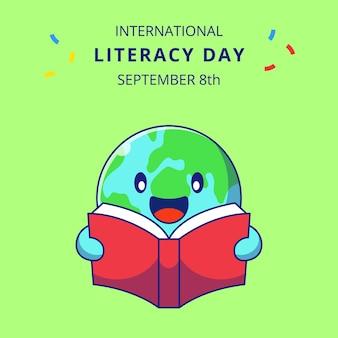 책 만화 그림을 읽고 귀여운 지구입니다. 교육 마스코트 만화 캐릭터.