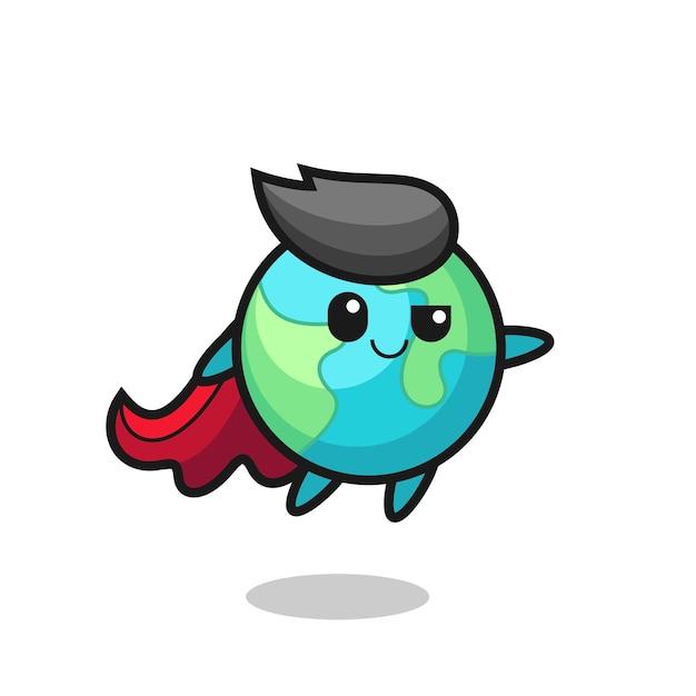 かわいい地球のスーパーヒーローのキャラクターが飛んでいます