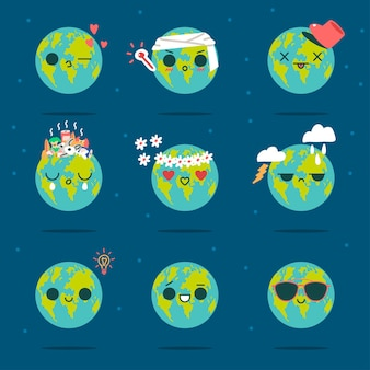 Cute earth vector cartoon character of funny planet with different emotions isolated
