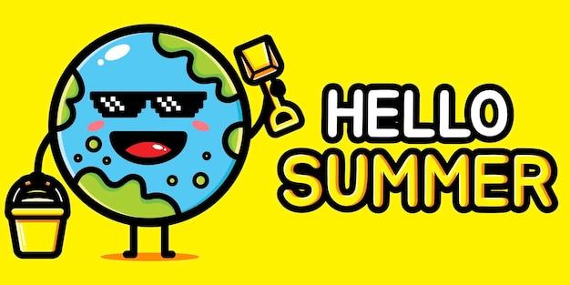 여름 인사말 배너와 함께 귀여운 지구