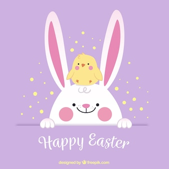 Cute easter background with chick and bunny