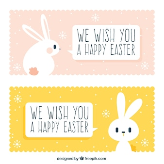 Cute easter banners with rabbit