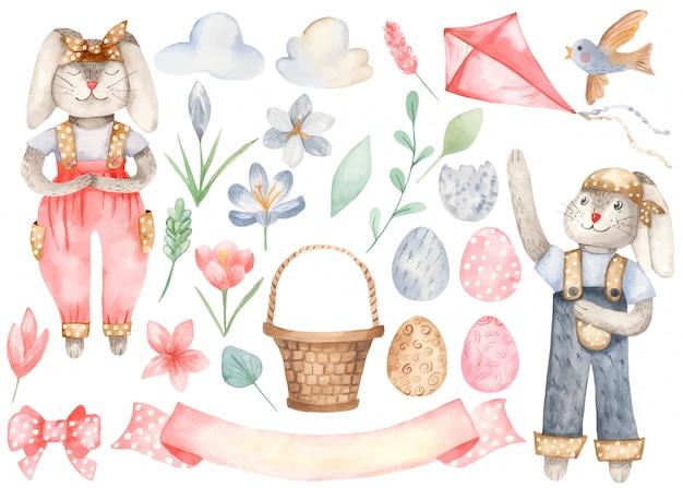 Симпатичные пасхальные кролики и элементы
